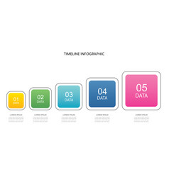 5 data infographics square step growth success vector image