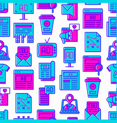 Advertising seamless pattern with thin line icons vector