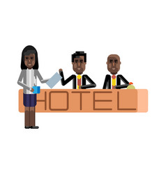 African receptionists at hotel reception desk vector