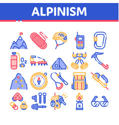 Alpinism collection elements icons set vector