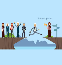 arab businessman jumping over obstacles chasm go vector image