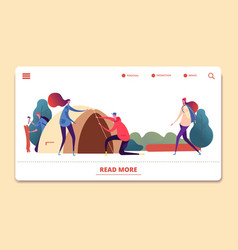 autumn camping landing page people vector image