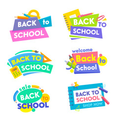Back to school banners set colorful tags icons or vector