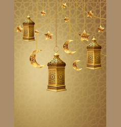 Background with decoration and lanterns vector