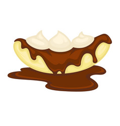 Banana dessert with melt chocolate and cream vector