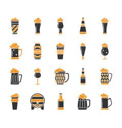Beer mug simple color flat icons set vector