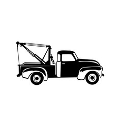 Black silhouette wrecker truck with broken car vector