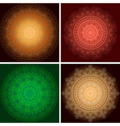 Bright ornaments on backgrounds with gradient vector