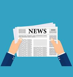 business man hands holding newspaper vector image
