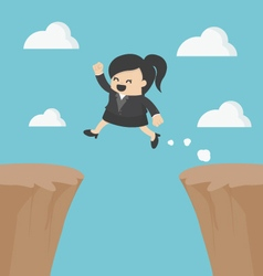 Business woman jumping over cliff vector