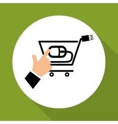 Buy online over white background shopping cart vector