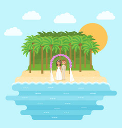 cartoon bride and groom on beach in flat design vector image