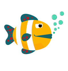 Cartoon fish with bubbles flat icon vector