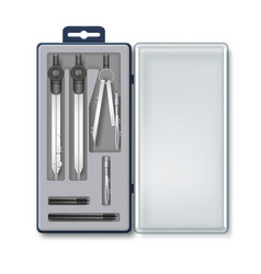 Case of drawing instruments vector