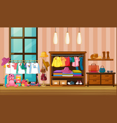 Children clothes hanging in wardrobe with many vector