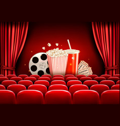 Cinema background with a film reel popcorn drink vector