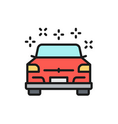 Clean polished car flat color line icon isolated vector