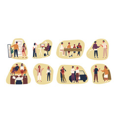 Collection of conflict situations or scenes vector
