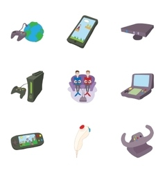 Computer games icons set cartoon style vector