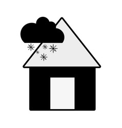 Contour house with cloud snowing natural weather vector