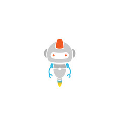 creative cute gray robot logo vector image