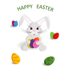cute greeting card of happy easter vector image