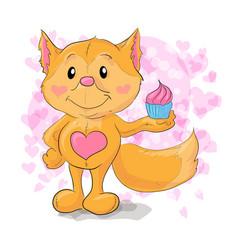 Cute little fox with kapkejkom vector