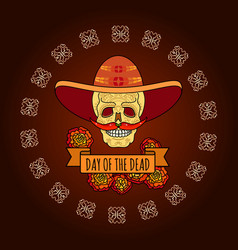 Day of the dead skull in sombrero vector