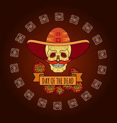 day of the dead skull in sombrero vector image