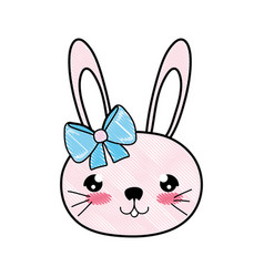 Doodle rabbit female head with ribbon bow vector