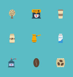 Flat icons coffeemaker arabica bean timber and vector
