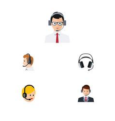 flat telemarketing set of help earphone vector image