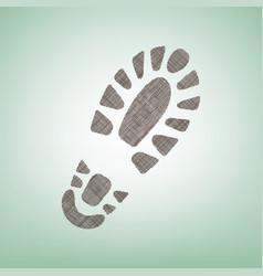footprint boot sign brown flax icon on vector image