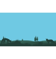 Fox in fields silhouettes vector