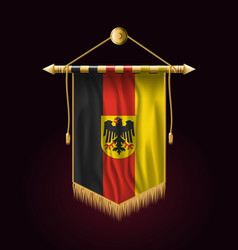 germany flag with coat of arms festive vertical vector image