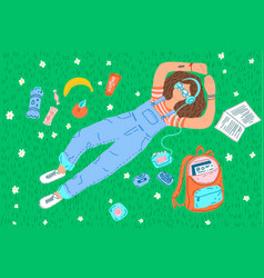 Girl lying on grass dreaming and reading book vector