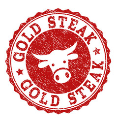 grunge gold steak stamp seal vector image