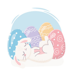 Happy easter sleeping rabbit with eggs decoration vector