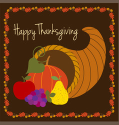 Happy thanksgiving with cornucopia vector