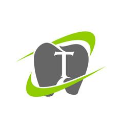 healthy dental care letter t vector image