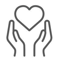 heart in hands line icon love and care arms with vector image