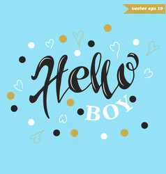 Hello boy on blue vector