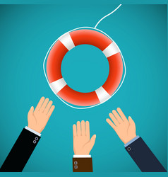 Human hands and a lifebuoy saving lives stock vector