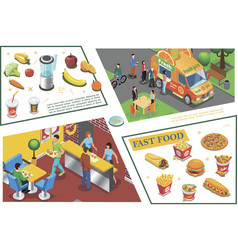 Isometric fast food colorful composition vector