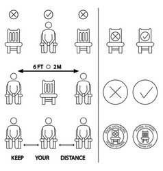 Keep your distance do not sit here forbidden icon vector
