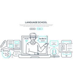 language school - modern line design style banner vector image