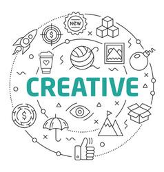 line flat circle creative vector image