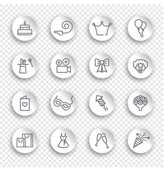 linear birthday icons set on white stickers with vector image