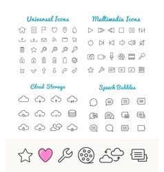 Linear icons set cloud storage speech vector