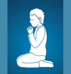 Little boy praise god prayer christian praying vector